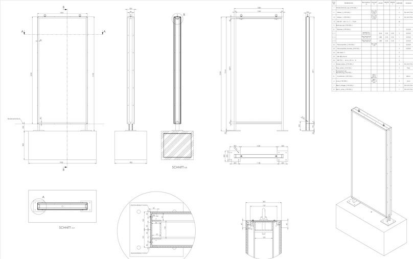CAD Zeichnung Werbepylon Restaurant