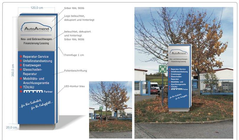 Werbepylon Blau Silber für Autohaus