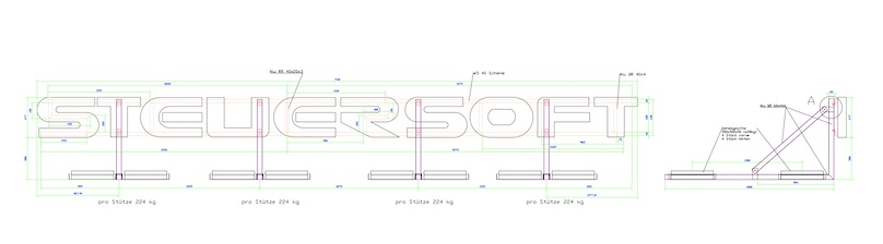 Einzelbuchstaben technische Zeichnung